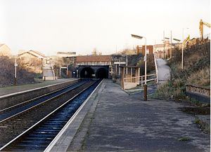 Farnworth railway station - Image: Farnworth railway station in 1989