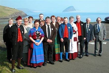 Faroese folk dancers, some of them in national costume Faroese folk dance club from vagar.jpg