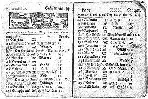 Almanaque sueco de 1712, com a indicação de 30 de fevereiro