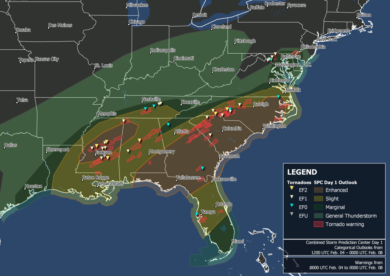 February 4–7, 2020 tornado outbreak warnings and reports.png