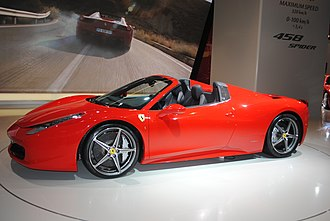 2-seat layout (Ferrari 458 Spider) Ferrari 458 Spider at the Frankfurt Motor Show IAA 2011 (6143716891).jpg