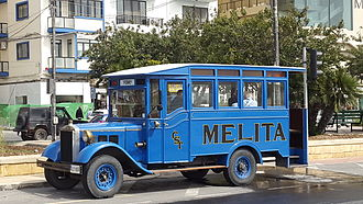 Buses in Malta - One of Malta's first buses that was bought in 1921 by the Cottonera Motor Bus Company. It is still in use today as a tourist attraction