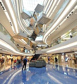 Festival Walk - Criss-crossing escalators in the atrium