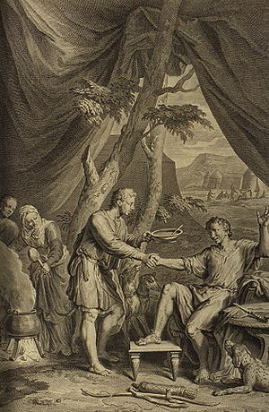 Primogeniture - Esau Sells His Birthright for Pottage of Lentils, a 1728 engraving by Gerard Hoet.