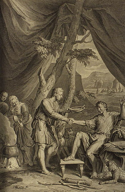 Esau Sells His Birthright for Pottage of Lentils, a 1728 engraving by Gerard Hoet. Figures Esau Sells His Birthright for Pottage of Lentils.jpg