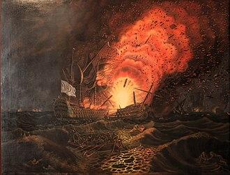 Battle of the Saintes - The end of the César, by François Aimé Louis Dumoulin