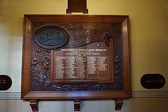 First World War Honour Board, Lands Administration Building - First World War Honour Board