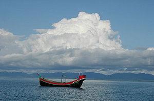 Fischerboot vor St. Martin, einer Insel Bangladeschs