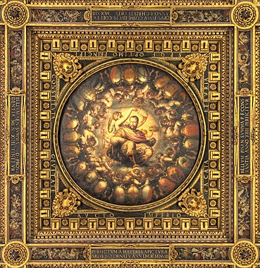 Apotheosis of Cosimo I de Medici, details of the ceilings of the Salone dei Cinquecento, Palazzo Vecchio, Florence.