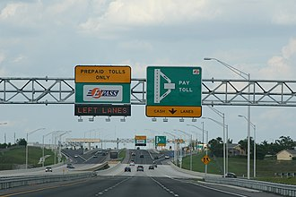 Florida State Road 408 - The rebuilt Hiawassee Road toll plaza with express E-Pass lanes