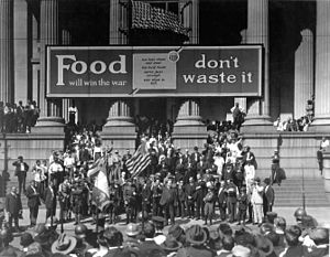 "Presidency of Woodrow Wilson - Liberty Loan drive in front of City Hall, New Orleans. On City Hall is a banner reading ""Food will win the war—don't waste it""."