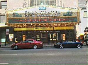 Oriental Theatre (Chicago) - A front view of the marquee.