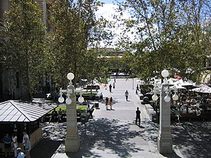 Forrest Place - View north along Forrest Place from Murray Street towards the railway station, circa 2004. The pedestrian skyway in the distance has since been removed.