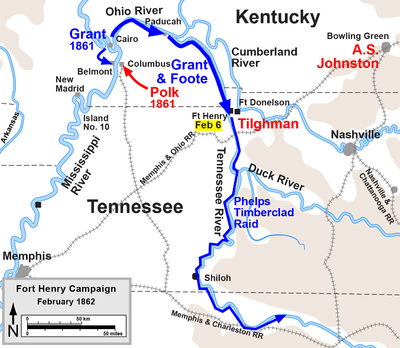 Battle Of Fort Henry Wikipedia - Fort donelson on us map