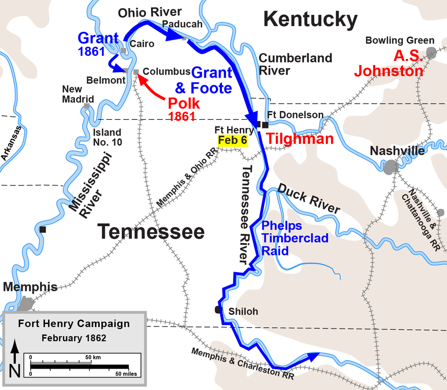 FileFort Henry Campaignpng Wikimedia Commons - Fort donelson on us map