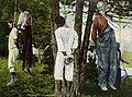 """Four African American men lynched on the """"old proctor lynching tree"""" where """"a total of nine men lynched on this tree"""" """"taken at dawn August 1, '08"""" at """"Russellville, Logan County, Kentucky""""- (NBY 4084) (cropped).jpg"""