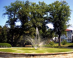 The Francis Griffith Newlands Memorial Fountain is located in the center of Chevy Chase Circle.