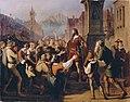 Franz Schams - Der als Minnesänger verkleidete Herzog Friedrich IV. gibt sich auf der Flucht aus Konstanz seinen treuen Tirolern zu erkennen - 3733 - Kunsthistorisches Museum.jpg