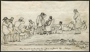 1861 in Denmark - A sitting King Frederik VII visiting the archeological excavations at Jelling in July 1. Drawing by Jacob Kornerup