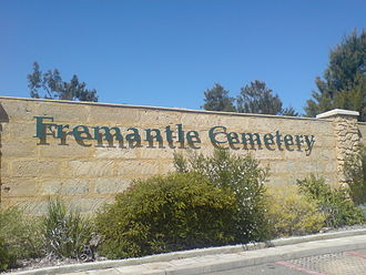 Fremantle Cemetery - Image: Fremantle cemetery sign