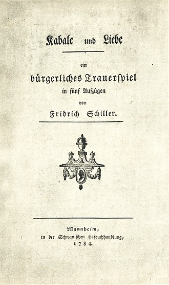 Intrigue and Love - Title page to the first edition, 1784.