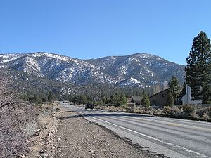 Sugarloaf Mountain (San Bernardino County, California) - Sugarloaf from Highway 38, April 2006. Sugarloaf is the peak on the right.