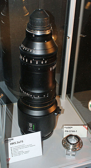 Fujinon - Fujinon HK5.3X75 35mm PL mount zoom lens, focal length 75-400 mm.