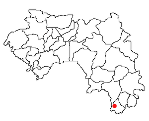 Location of Yomou Prefecture and seat in Guinea.