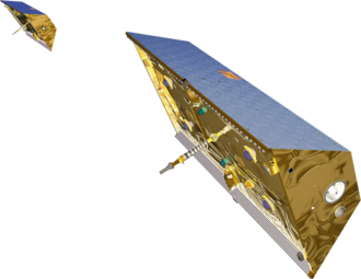 Gravity Recovery and Climate Experiment - Illustration of the twin GRACE satellites