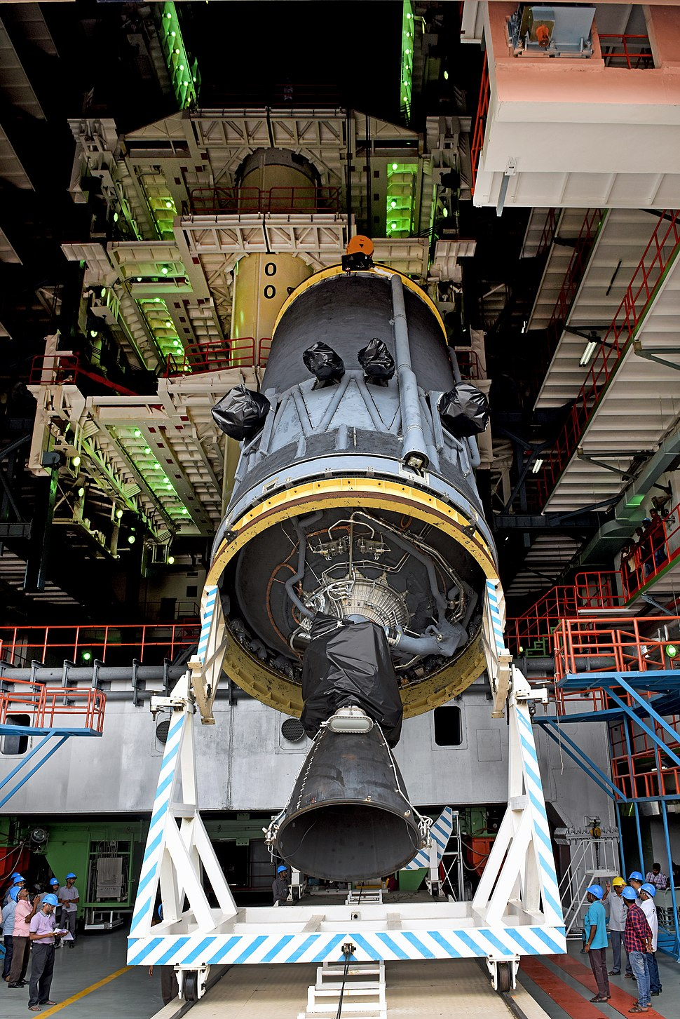 GSLV Mk III M1, Chandrayaan-2 - C25 cryogenic stage at Vehicle Assembly Building for vehicle integration
