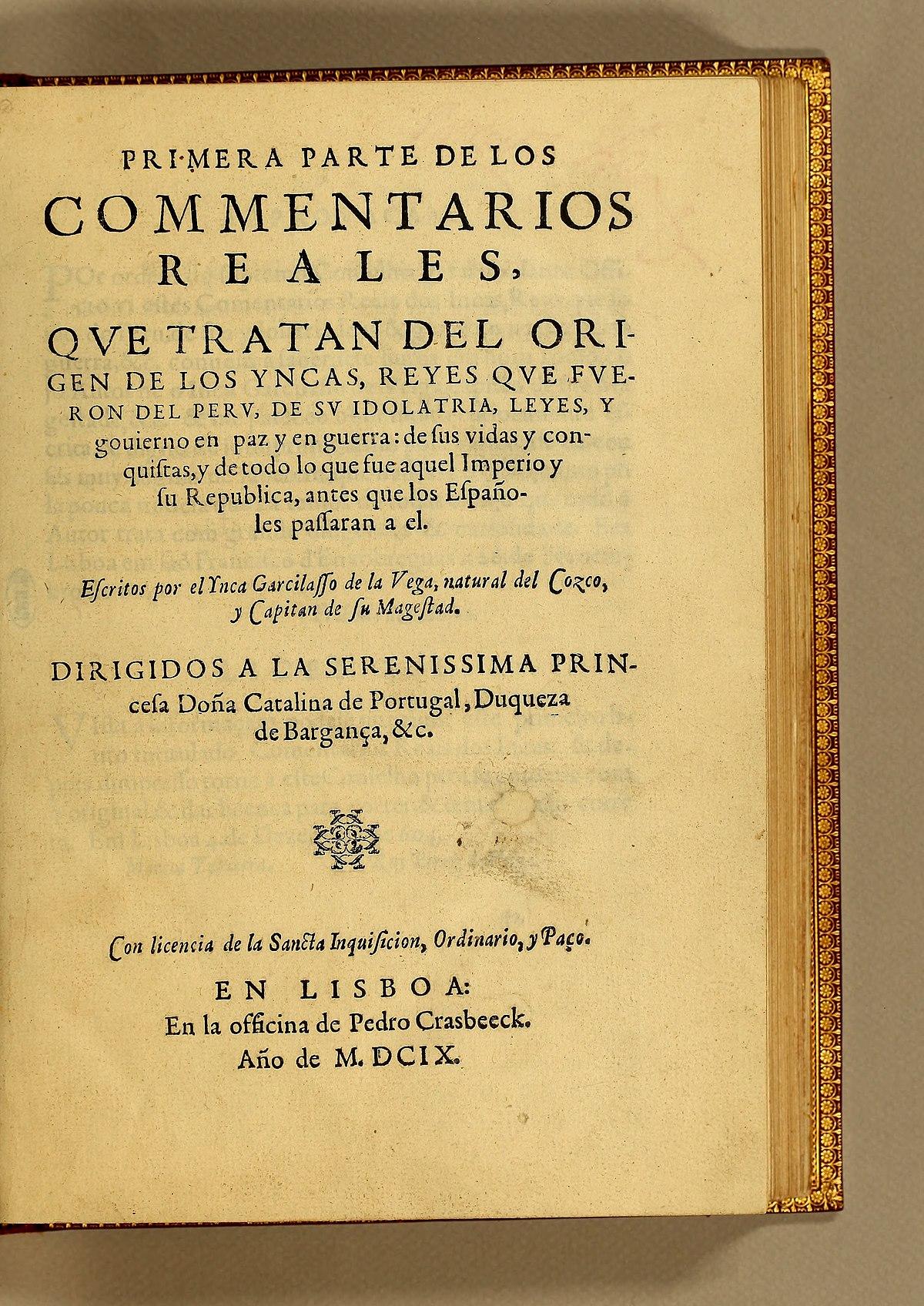 Comentarios Reales de los Incas - Wikipedia