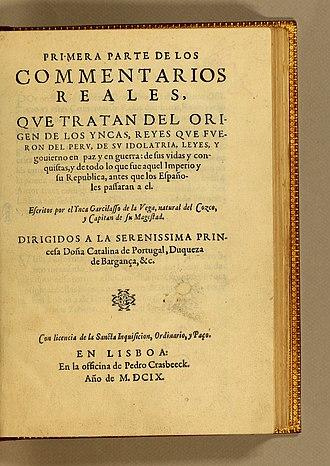 Inca Garcilaso de la Vega - Title page of Comentarios Reales de los Incas (1609)