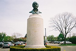 Bust Honoring Stewart In The Parking Lot Of Garden City (LIRR Station).
