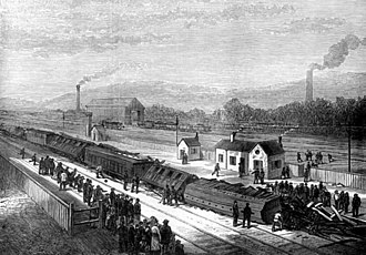 Heeley railway station - Railway accident at Heeley station in 1876 (contemporary engraving)