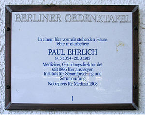 Paul Ehrlich - Commemorative plaque at Bergstraße 96 in Berlin-Steglitz, where Ehrlich lived and worked from 1890 to 1899