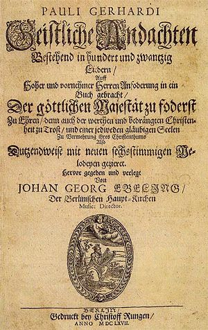 Du meine Seele singe - The title page of the first publication in 1667