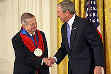 George Tooker receiving the National Medal of Arts from George W. Bush