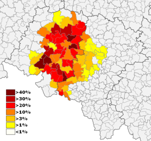 German minority in Poland - German minority in Upper Silesia: Opole Voivodeship (west) and Silesian Voivodeship (east).