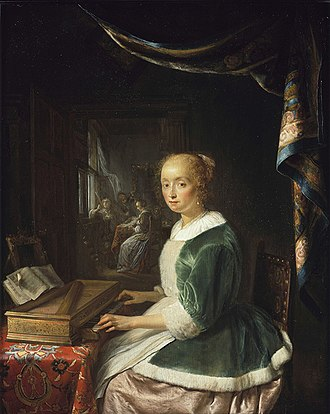 Rectangular Octave Virginal - A Young Lady Playing a Clavichord, an impression of how such an instrument was still being used a half-century later