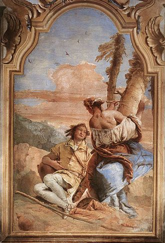 Angelica and Medoro - Giovanni Battista Tiepolo, Angelica Carving Medoro's Name on a Tree, 1757.