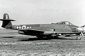No. 616 Squadron RAF - Gloster Meteor F.8 of 616 Squadron in 1955 wearing the distinctive unit markings.