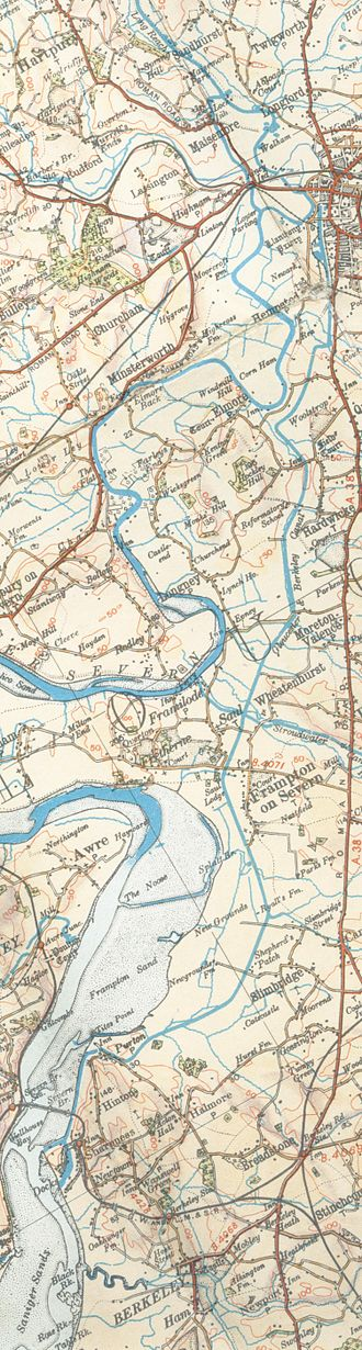 Gloucester and Sharpness Canal - A map of the canal from 1933