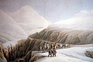 Winterreise 1790 über den Gotthard, kol. Stich...