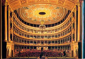 Gran Teatro Nacional (Mexico) - Pedro Gualdi: Interior of the Great Theatre of Santa Anna (later Great National Theatre of Mexico). Nineteenth century.