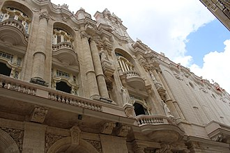 Gran Teatro de La Habana - Detail showing the architectural connection of the Centro Gallego to the new stone facing of 1838 Teatro Tacon on Calle San Rafael.