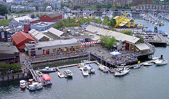 Granville Island - Northwest Granville Island in 2005-the large complex in the centre is the public market.
