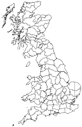 Vice-county - Vice-counties of Great Britain and the Isle of Man (Orkney and Shetland not shown)