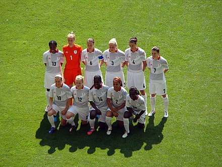 The Great Britain team before their first match in the Olympic tournament. Great Britain Womens Football Team.jpg