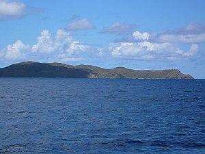 Great Camanoe - View of the eastern (uninhabited) side of Great Camanoe, from the east.
