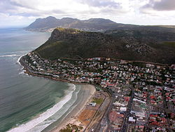 An aerial photograph of Fish Hoek stretching out towards the south.